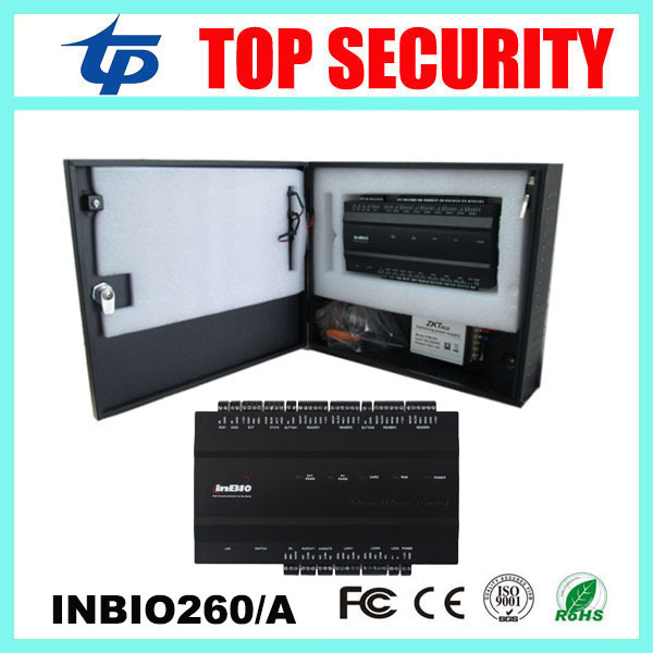 Inbio260 2 puertas TCP/IP biométrico de huellas dactilares y RFID ZK sistema de panel de control de acceso de la tarjeta tarjeta de control con caja de alimentación
