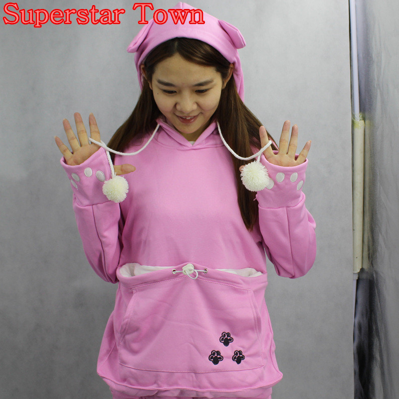 Cat lovers bluzy z cuddle etui dog pet bluzy dla kangura dorywczo swetry z uszy bluza 4xl drop shipping 3