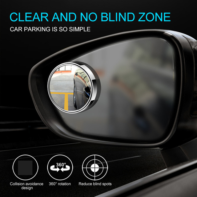 360 Degree Rotary  Push Car Rear View Mirror Small Round Mirror Large Vision Reverse Assist Blind Spot Mirror Car Accessories 3