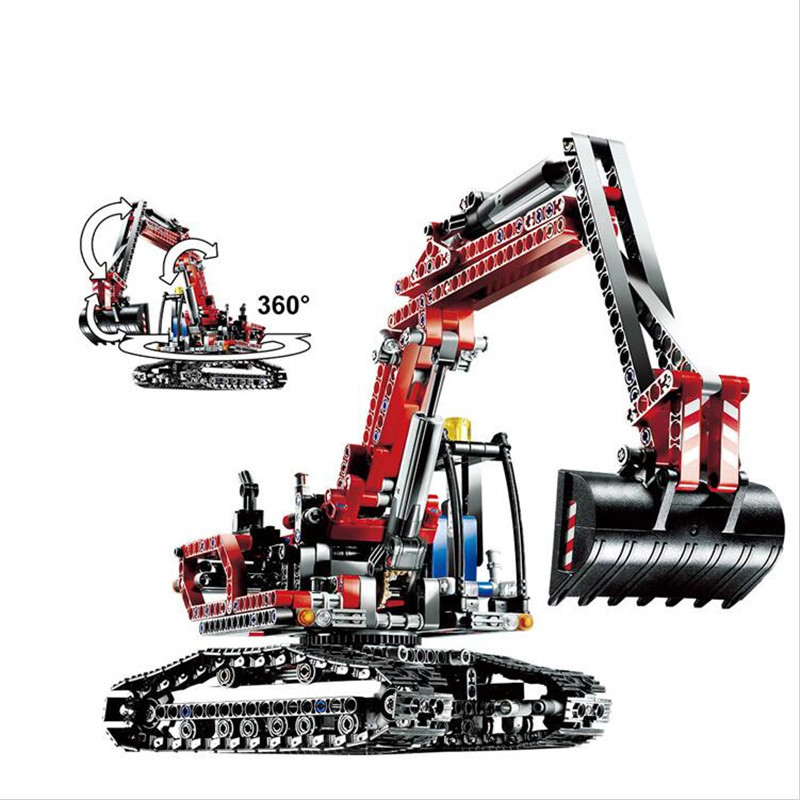 Compatible Legoe Technic Series 8294 Model 20025 760pcs Red Excavator building blocks Figure bricks toys for children decool technic city series excavator building blocks bricks model kids toys marvel compatible legoe