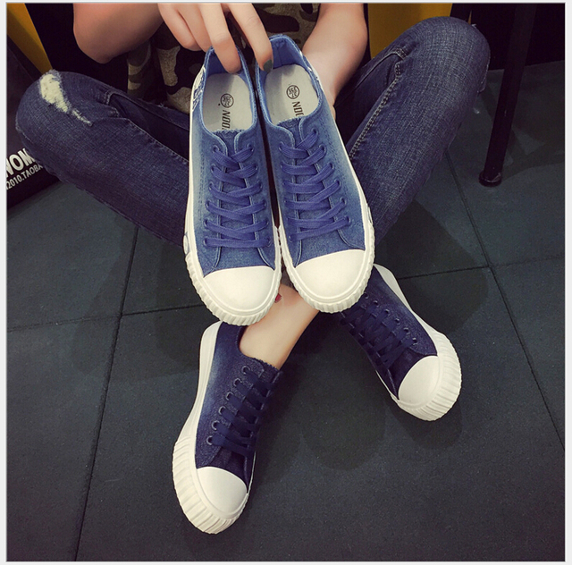 2017 spring summer Women Fashion Low Top Denim canvas Shoes Lace-Up Casual Shoes Student shoes Size 35~40