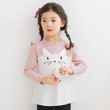 Spring 2016 new girls shirt children sleeved T-shirt embroidered cotton cartoon baby