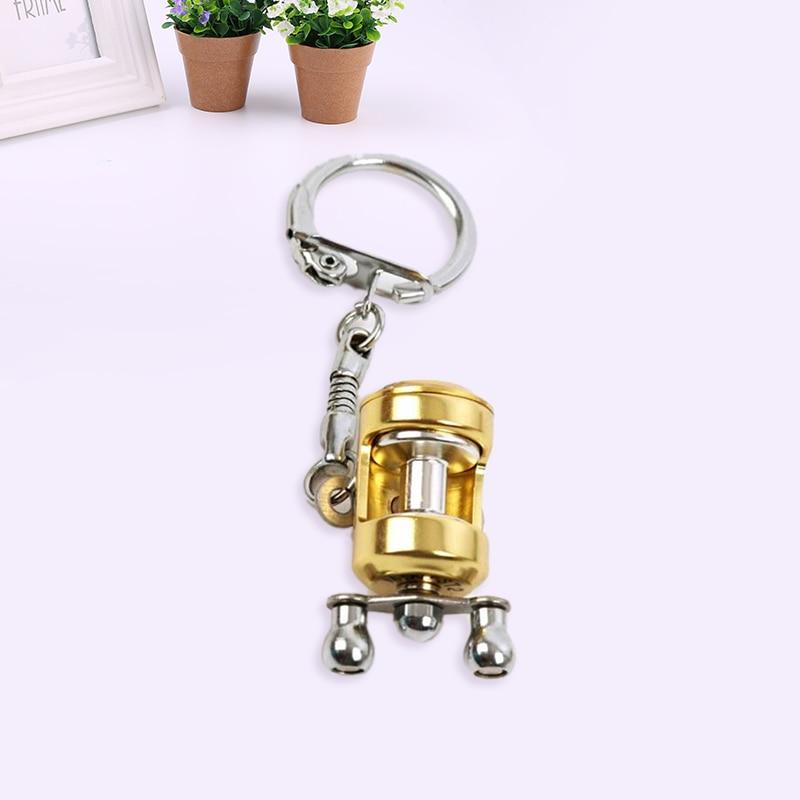 Portable Pocket Fly Reel Key Chain Trolling Fishing Metal Keychain Ring Fishing Tackle Boxes Fishing Tools Kits Key Accessories