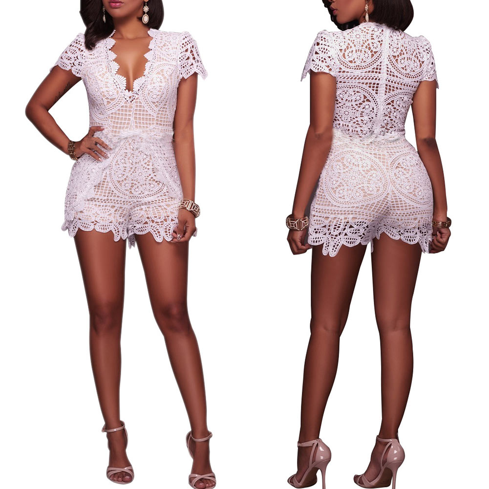 Summer Women Sexy Jumpsuit Lace V Neck Short Sleeve Hollow Out Club Beach Casual Rompers FS99