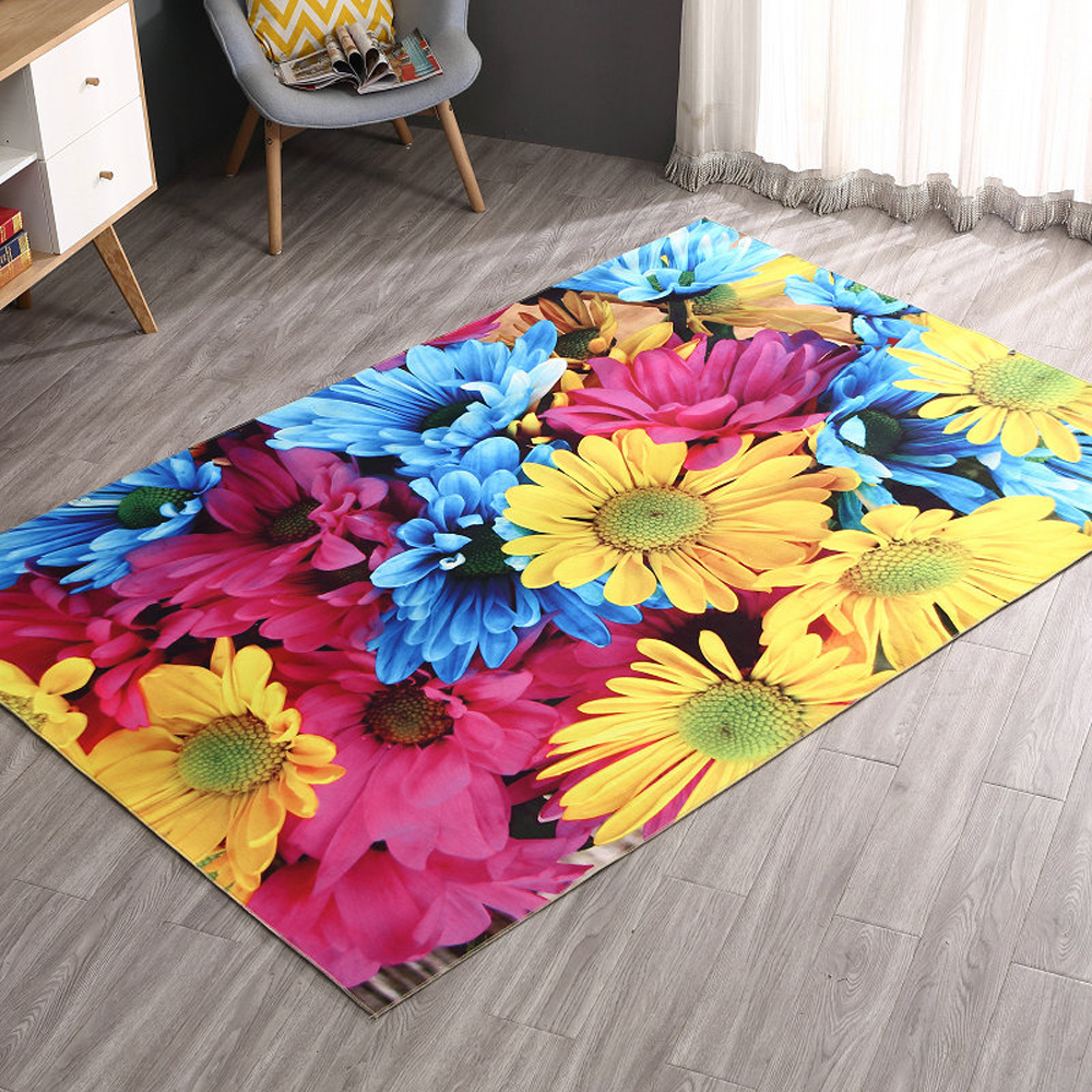 3d Daisy Rose Petals Flower Printed Rug And Carpets For