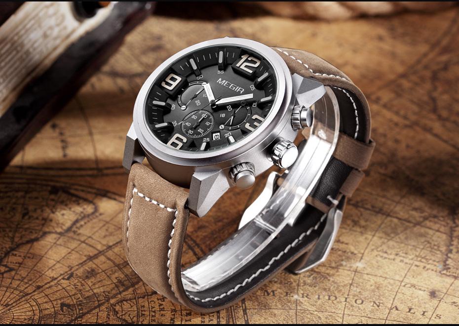 Topdudes.com - MEGIR Sports Casual Fashion Big Dial Quartz Chronograph Leather Wrist Watch