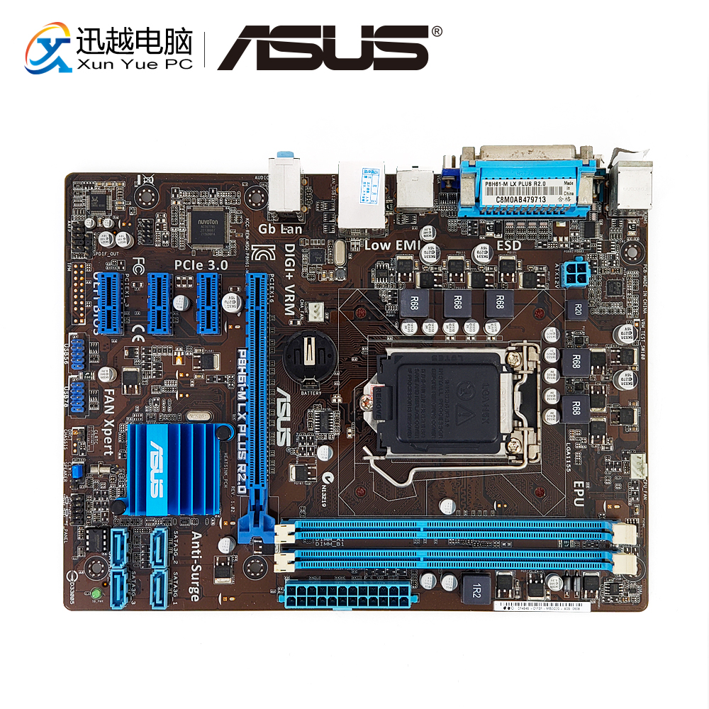Asus P8H61-M LX PLUS R2.0 Desktop Motherboard H61 LGA 1155 i3 i5 i7 DDR3 16G SATA2 USB2.0 VGA COM Port & Parallel Port uATX original desktop motherboard for asus p8h61 m lx ddr3 lga 1155 for i3 i5 i7 cpu 16gb usb2 0 h61 desktop mainboard free shipping