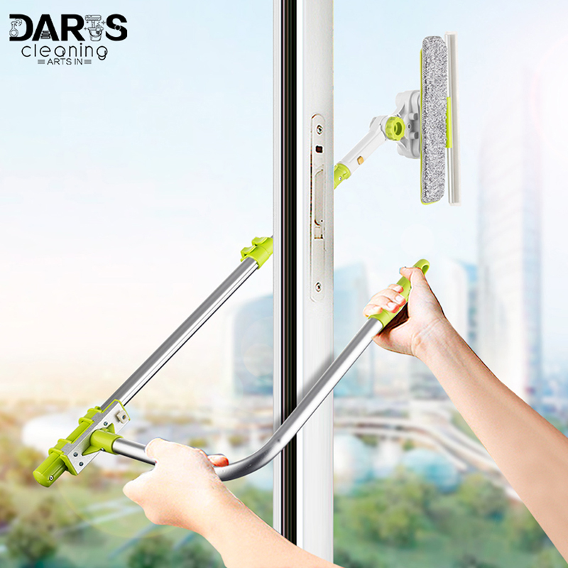SDARISB Window Squeegee Microfiber Extendable Window Scrubber Washer Cleaner Tools 180 Rotatable Cleaning Brush for High