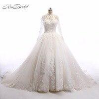 Luxury Beaded Vintage Lace Wedding Dresses High Neck Long Sleeves Applique Vestidos De Novia Robe De