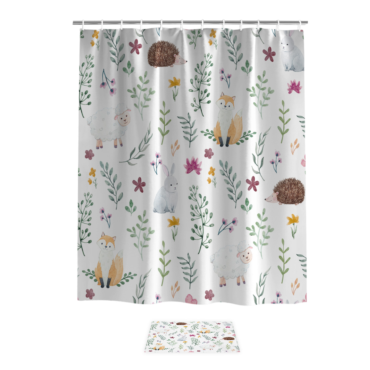 Cartoon Hedgehog Fox Rabbit Spring 2 Piece Bathroom Set