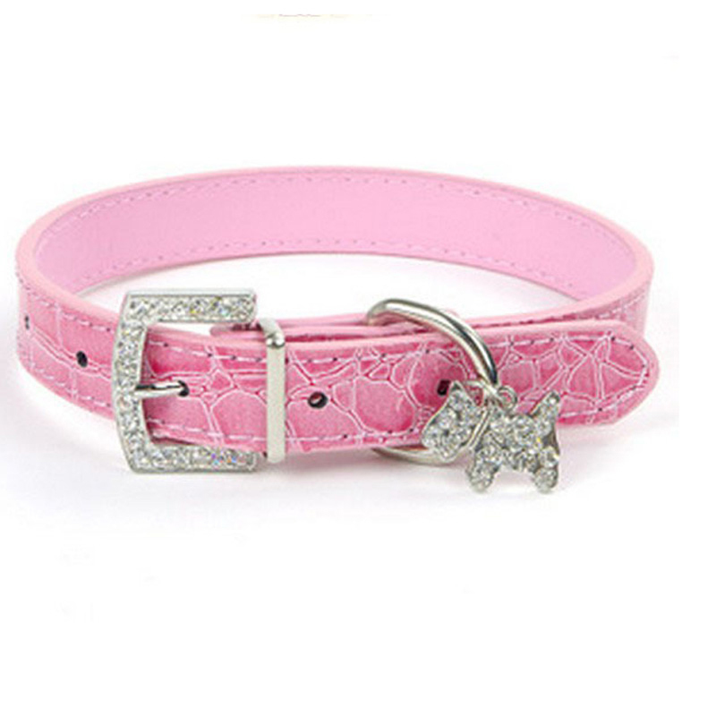 1PCS PU Leather Dog Collar Rhinestone Puppy Buckle Puppy