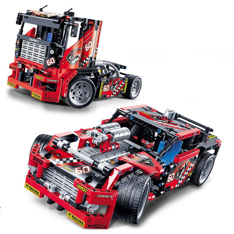 Decool Race Truck Car 2 In 1 Transformable Model Building Block Sets DIY Toys For Children Gift Compatible With Technic 42041 2017 enlighten city series garbage truck car building block sets bricks toys gift for children compatible with lepin