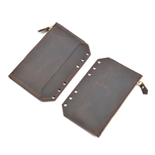 Moterm Genuine Leather Zipper bag For A6 Notebook Accessory Card Pocker bag storage 170x110mm for cowhide diary