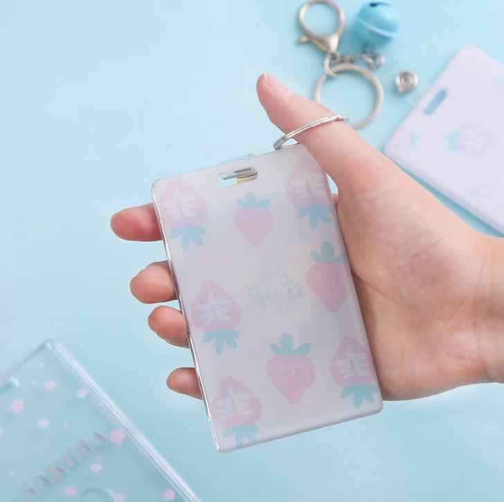 1 Pcsน่ารักเชอร์รี่ซากุระดอกไม้สตรอเบอร์รี่พลาสติกโปร่งใสBellผู้ถือบัตรเครื่องเขียนBank ID Card Busผู้ถือกระเป๋า