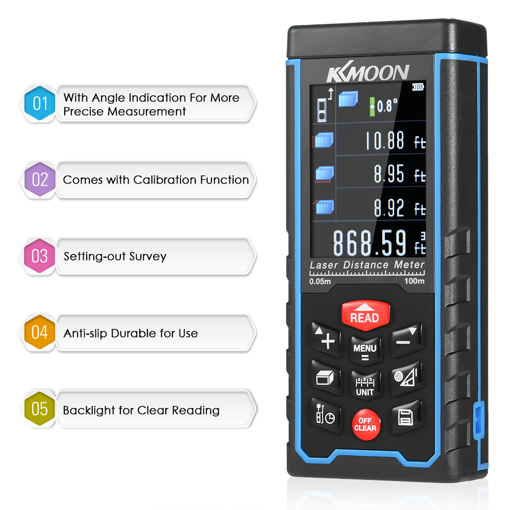 Handheld laser rangefinder Digital Laser Distance Meter Color Display laser Range Finder Diastimeter Area Volume Measurement laser head owx8060 owy8075 onp8170