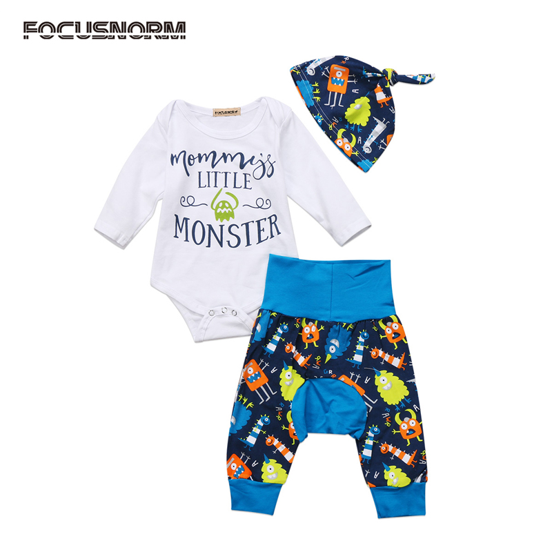US Stock Toddler Baby Boy Clothes Long Sleeve Letter Jumpsuit Long Leggings Pants Hat Outfits Clothes Set