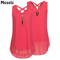 Messic Plus Size 4XL 5XL Tunic Chiffon Blouse Shirt Women Summer 2018 Zipper V Neck Chemise