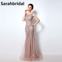 Blush Pink Mermaid Prom Dresses O Neck Beaded Crystals Long Tulle Vestido De Noiva Women Formal