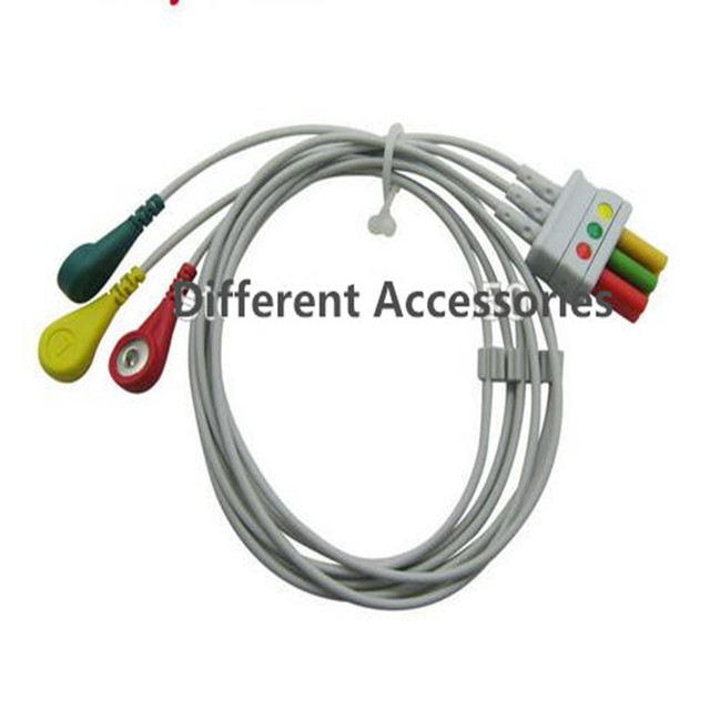 compatible for mindray mec1000,pm7000/8000/9000 ecg 3 leadwires snap end  ecg trunk cable medical wire cables iec