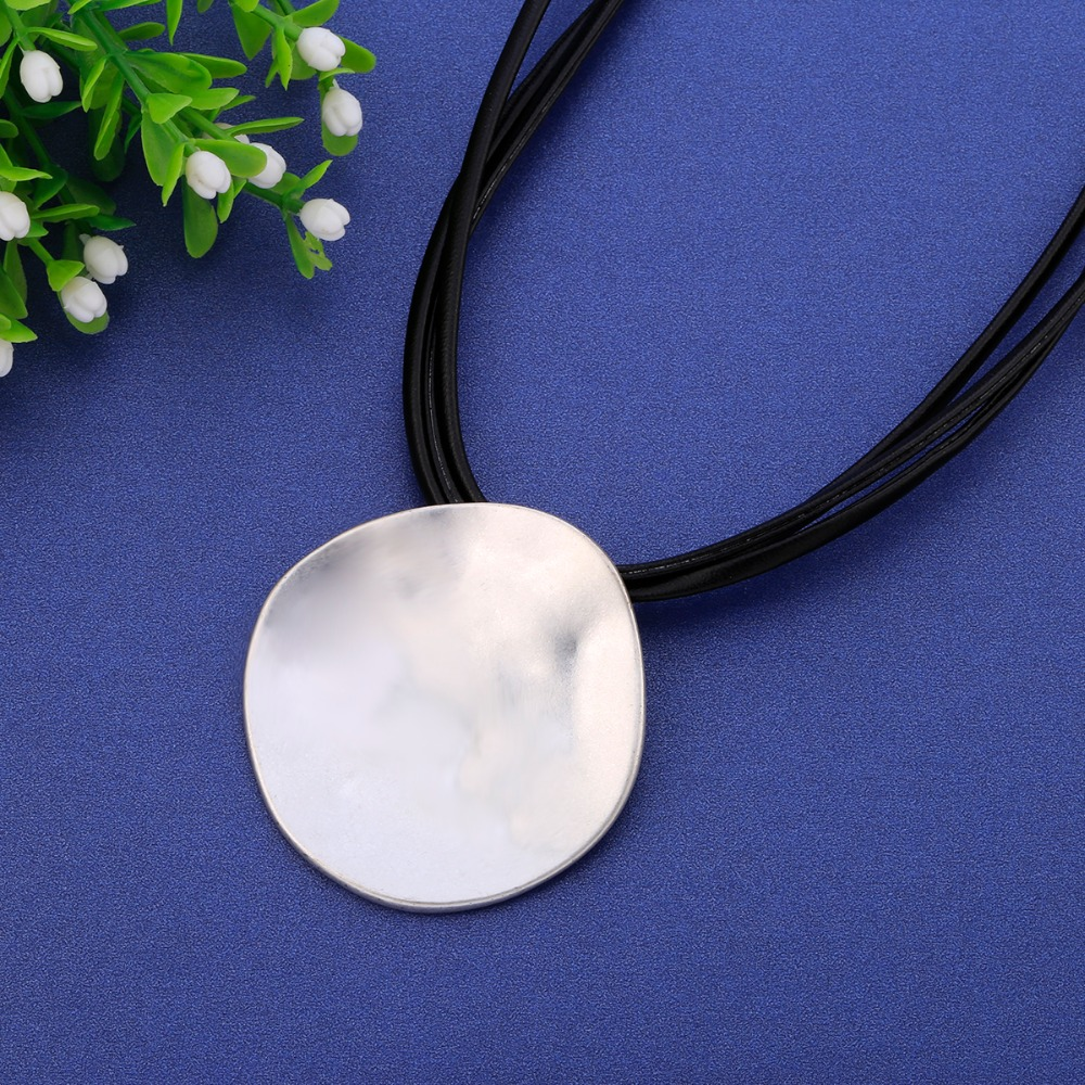 Big Round Silver Choker Necklace Women Simple Black Leather Layered Chain Irregular Pendant Necklace 2019 Fashion Jewelry Gift in Choker Necklaces from Jewelry Accessories