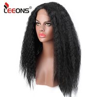 Leeons Glueless Afro Wigs For Black Women Curly Synthetic Lace Front Wig Best Quality High Temeperature Fibre Cosplay Wig24Inch