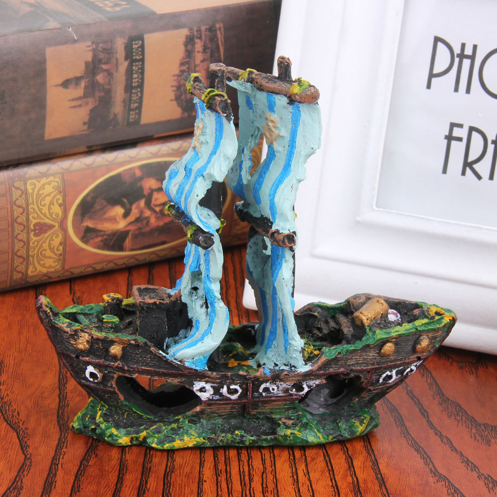 1pcs Aquarium Decor Resin Wreck Sunk Ship Aquarium Aquatic ...