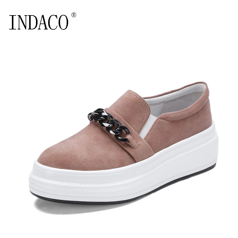 Women Leather Platform Loafers 2019 Spring Korea Style School Style Flat Solid Big Size Casual Shoes