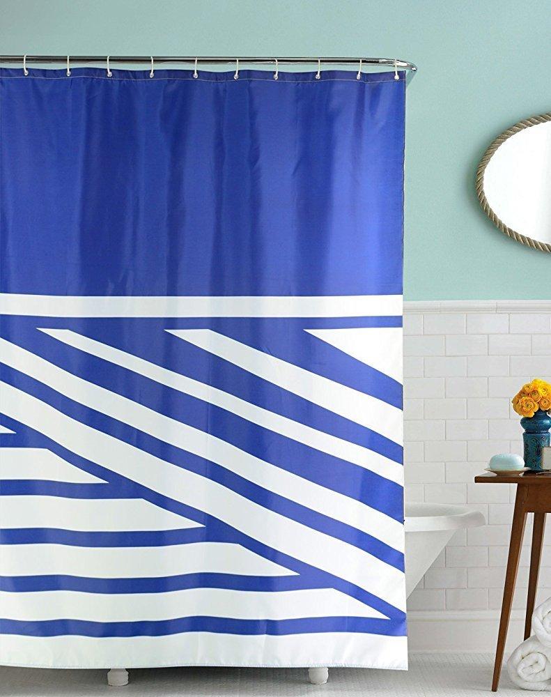 Blue bathroom curtains - Memory Home Bathroom Decor Shower Curtain Set Blue Striped Chevron Patter Waterproof Polyester Fabric Shower Curtain