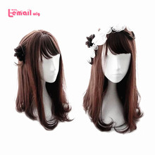 L-email wig Brand New 55cm 21.65inch Women Wigs Reddish brown Heat Resistant Synthetic Hair Perucas Cosplay Wigs for Women