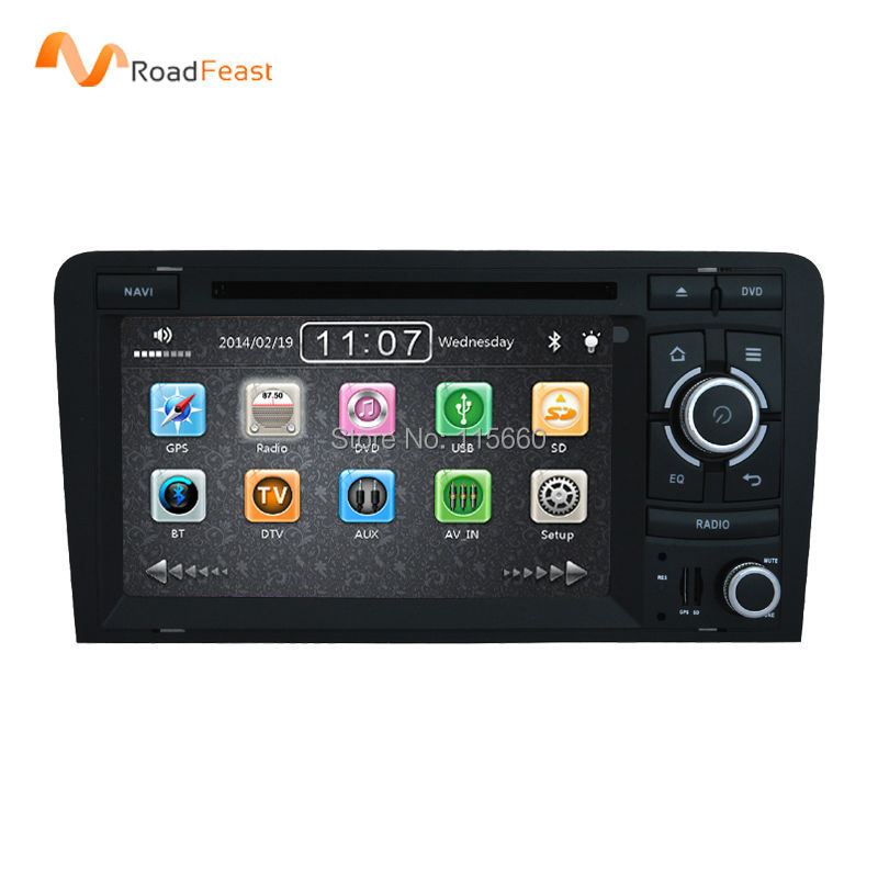Capacitive Screen Two Din 7 Inch Car DVD Player For Audi A3/S3 2002-2011 Canbus Radio GPS Bluetooth 1080P Navigation FM Map