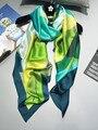 [Peacesky] 2016 moda bandana scarve xadrez mulher marca de luxo 100% lenço de seda das mulheres xaile hijab impressão fzc-6805