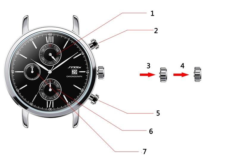 24b2d341201 Cronografo multifunzione ① Cronometro ② Tasto avvio   stop 9H ③ Calendario  ④ Regola il tempo ⑤ Pulsante di ripristino ⑥ Contatore di secondi