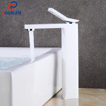 цена на SOGANRE Bathroom Faucet Mixer Single Handle Cold And Hot Water Tap White Faucet For Sink Mixer Sink Tap Bath Faucet Water Crane
