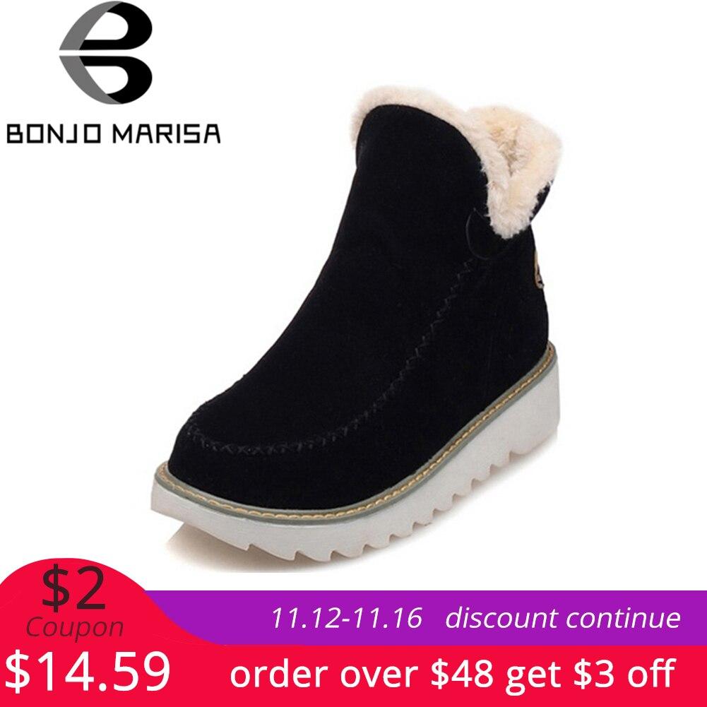 BONJOMARISA Winter Große Größe 34-43 Stiefeletten Schnee Stiefel Frauen Warme Plüsch Runde Kappe Plattform Schuhe Frau komfortable keile schuhe
