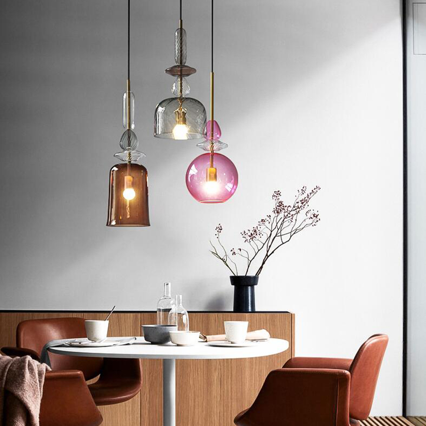 Modern Stained Glass Pendant Lights Led Candy Pendant Lamp Dining Room Cafe Bar Bedroom Light Fixtures Decor Lighting Luminaire