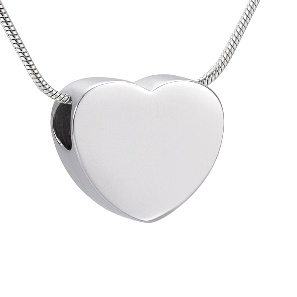 IJD9942 Gold/Silver/Rose Gold Blank Heart Urn Charm Cremation Jewelry for Ashes Pendant Necklace Free Engraving Name