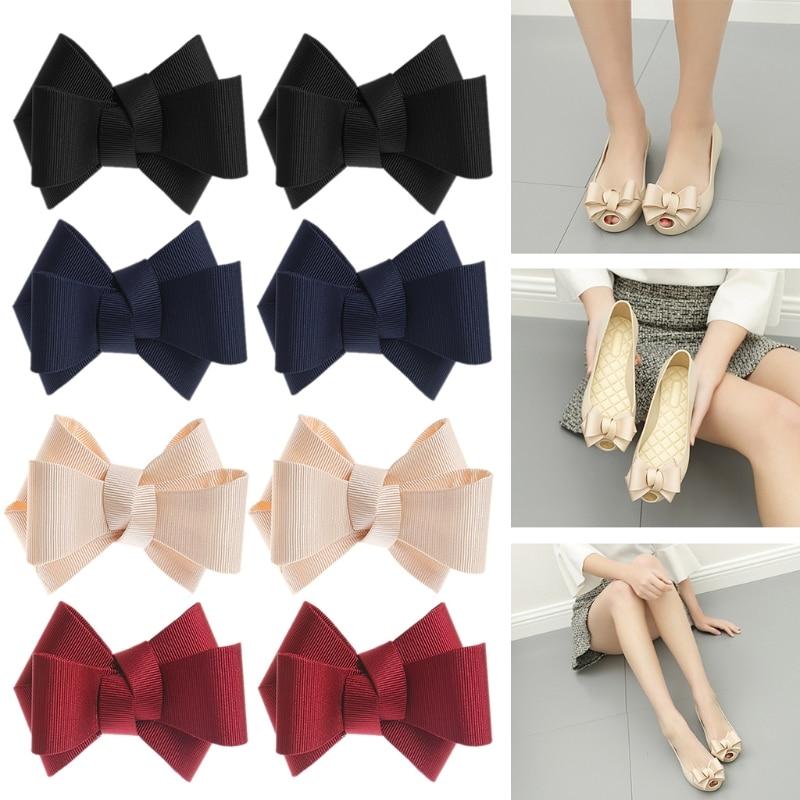 2Pcs DIY Bowknot Patches Shoe Clothes Applique Accessories Embroidery Clip  Shoe Decorations