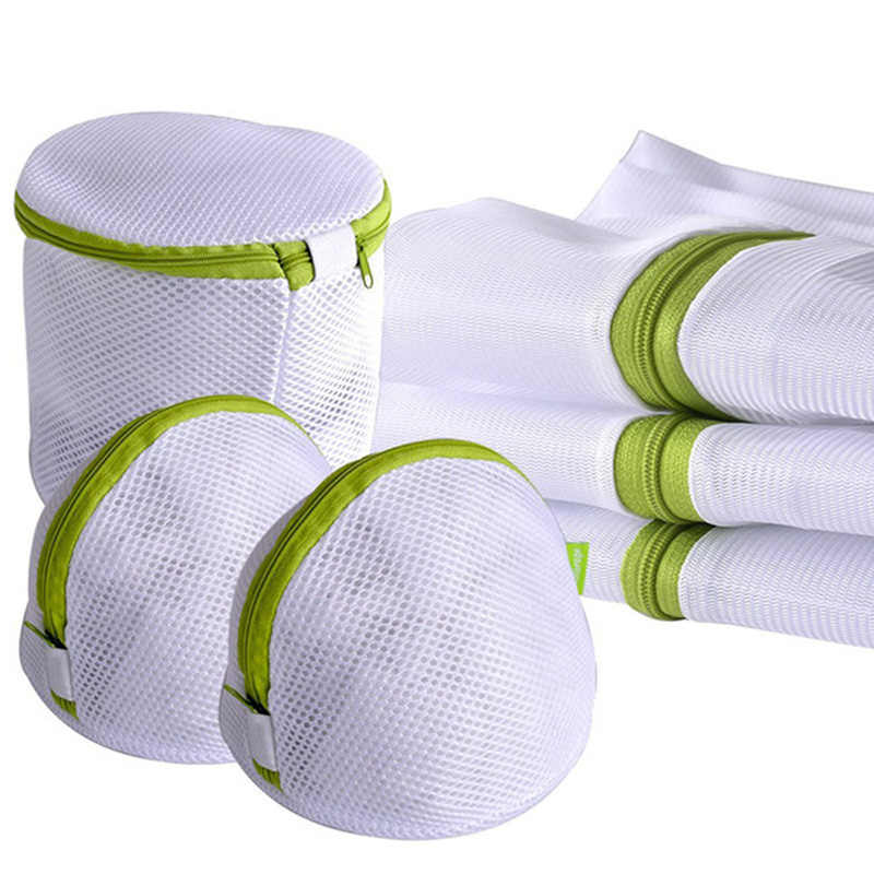 6Pcs/sets Zippered Mesh Laundry Wash Bags Foldable Delicates Lingerie Bra Socks Underwear Washing Machine Clothes Protection Net