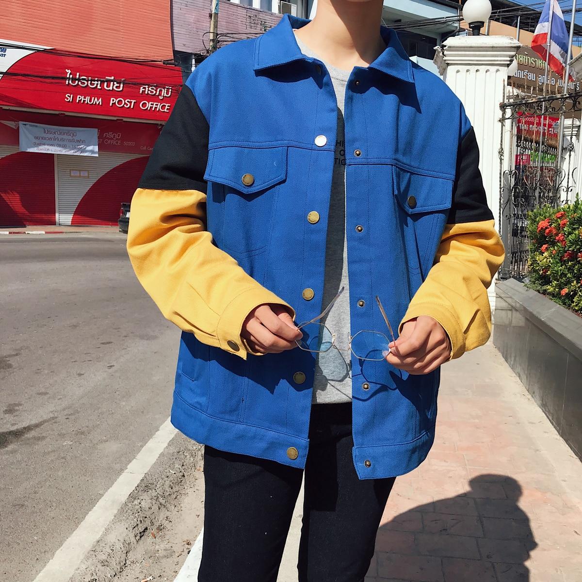 2018 Men's Korean Style Newest Cowboy Fashion Trend Leisure Loose Coats Casual Bomber Streetwear Denim Jackets Windbreaker M XL