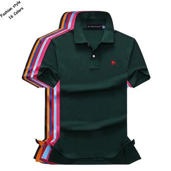 16 couleurs coton été hommes à manches courtes couleur unie polos chemises petit cheval décontracté revers polos mode slim hauts pour hommes