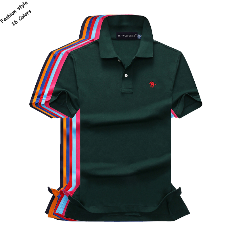 16 Colors Cotton Summer mens short sleeve solid color polos shirts small horse mens casual lapel polos Fashion slim mens tops