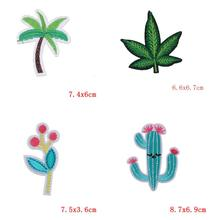 Patch For Clothes Plant Cactus Embroidered Iron on for Clothing DIY Stripes Coconut trees Stickers Custom Badges C