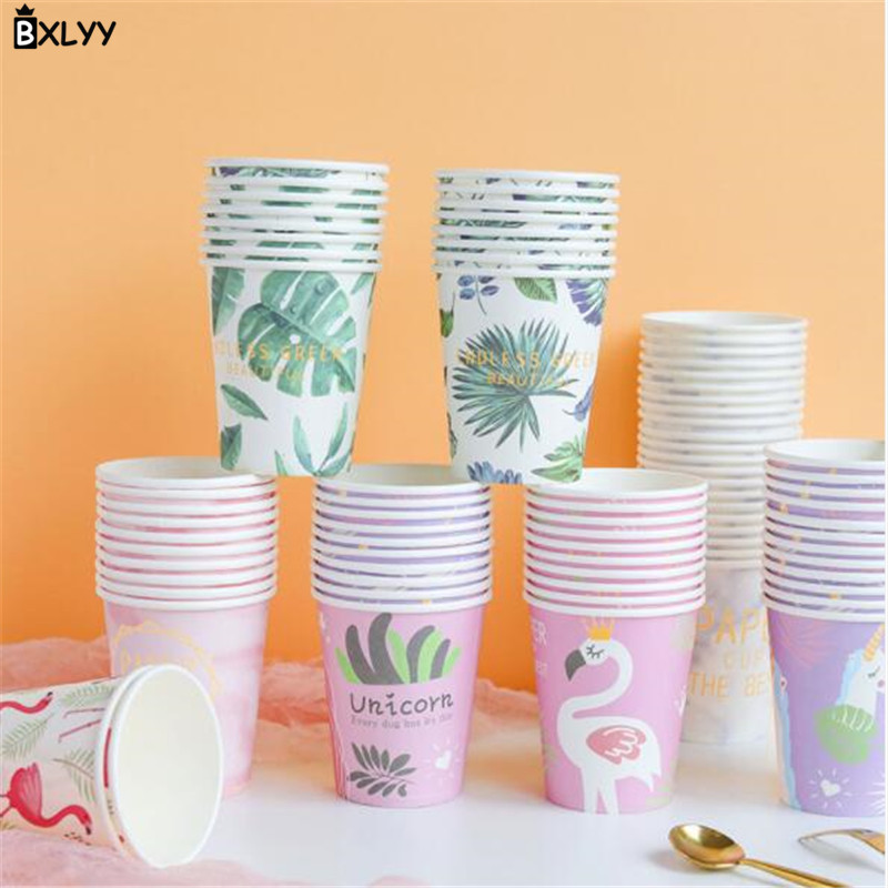 BXLYY Paper-Cup Kitchen-Accessories Flamingo-Series Disposable Home Party-Supplies 10pc