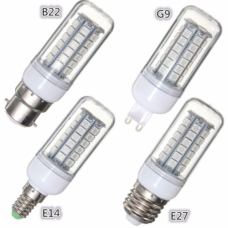 48LEDs 5050SMD LED Light Bulb E27 E14 G9 B22 AC110 3.5W Energy Saving Lamp Bulbs Decor Lighting 300Lumen Red Green Blue