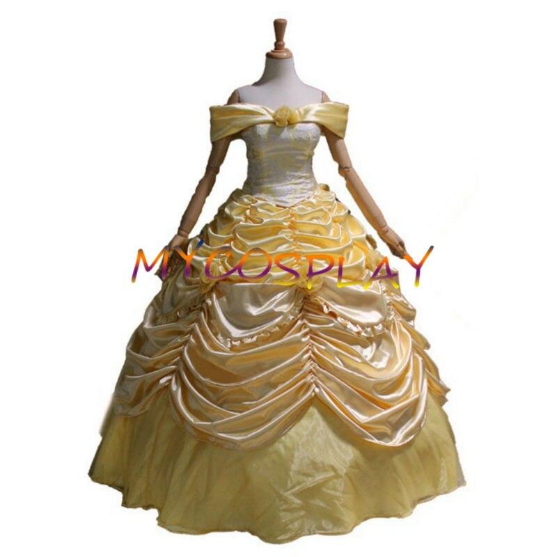 где купить 2016 cartoon princess belle beauty and the beast cosplay costumes adult princess belle costume yellow dress по лучшей цене