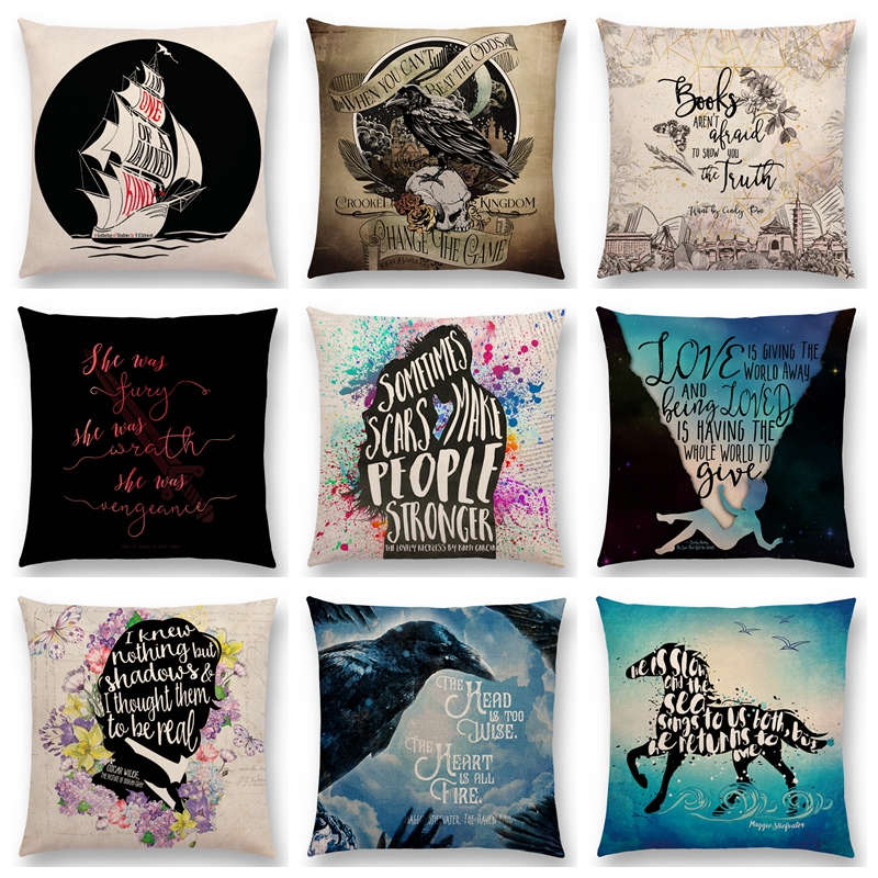 High Quality Cushion Covers Animal Pillow Case Dog Illustration Explanation Cushions Custom Decorative Pillows Cover For Sofa Home Textile Table & Sofa Linens