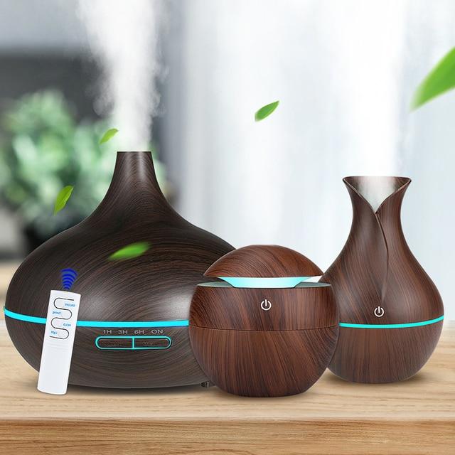 3個木目空気加湿器セットアロマエッセンシャルオイルディフューザー超音波クールミスト清浄7カラーチェンジledナイトライト