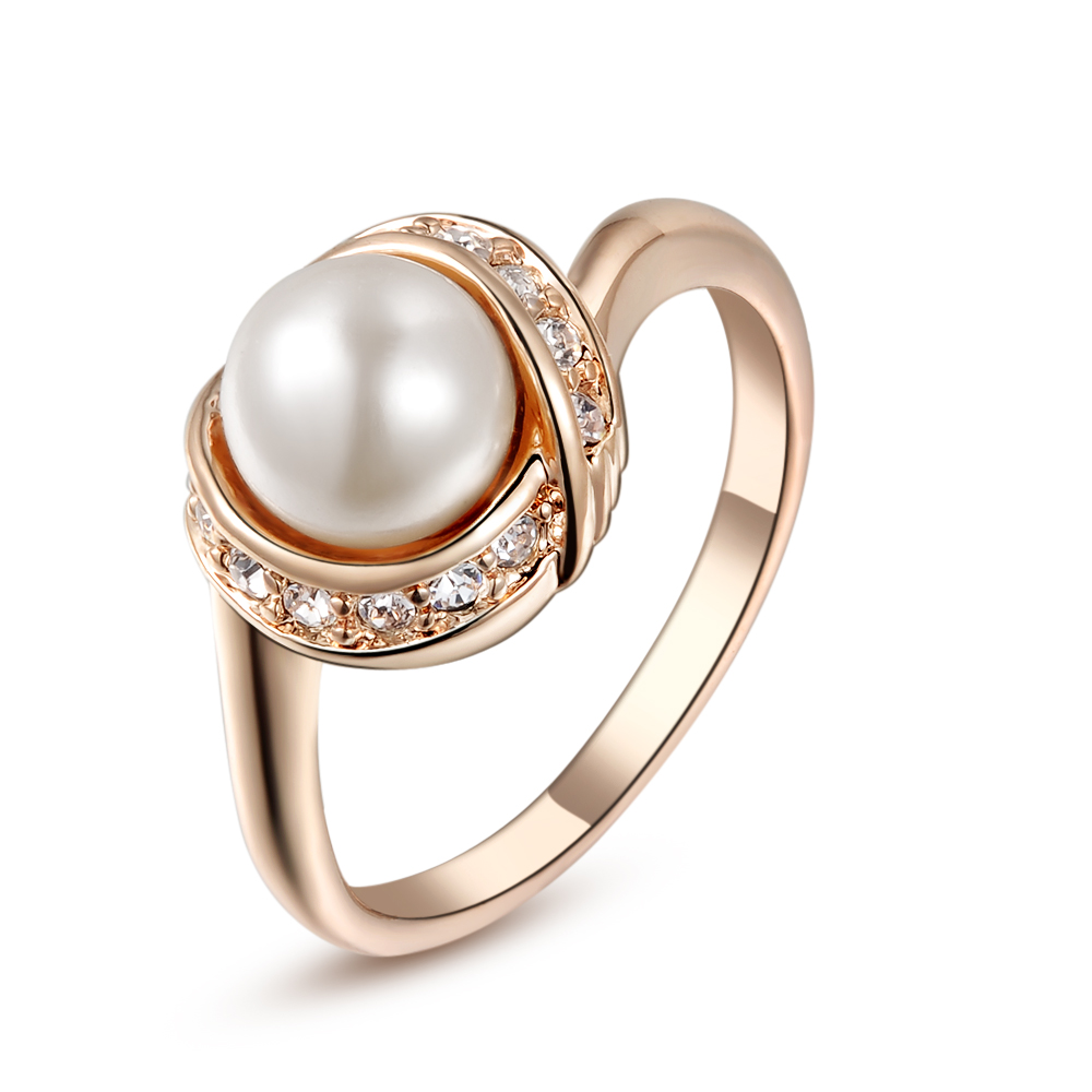 Brand Tongkwok Austrian Crystal Simulated Pearl Rings For Women Vintage Ring  New Sale Real #93137