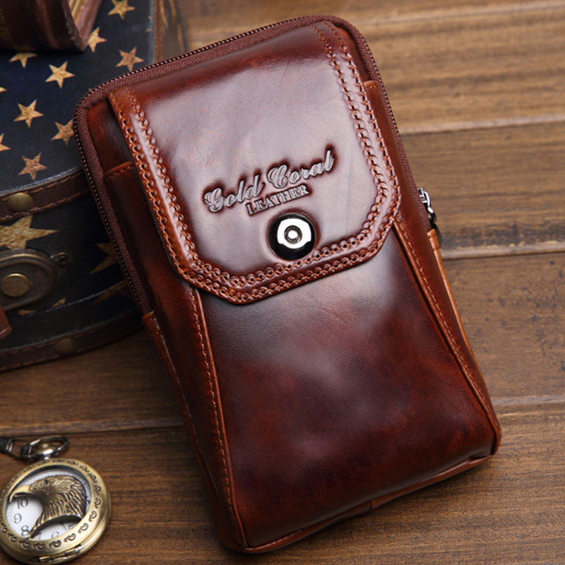 2018 Men Genuine Leather Cowhide Hook Cell Mobile/Phone Case Cover Cigarette Belt Hip Fanny Bag Waist Pack Purse For Father Gift