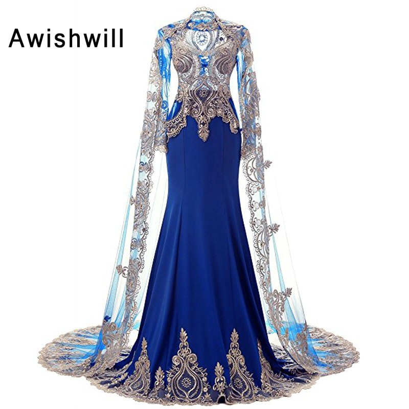 7060ea575a4ec New Arrival Dubai Evening Dresses 2019 With Cape Golden Lace Women Formal  Dress Long Sleeve Mermaid ...